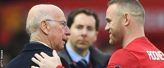 Sir Bobby Charlton (left) and Wayne Rooney