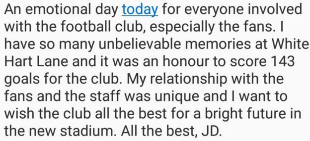 Former Tottenham striker Jermain Defoe, now at Sunderland. tweeted this message