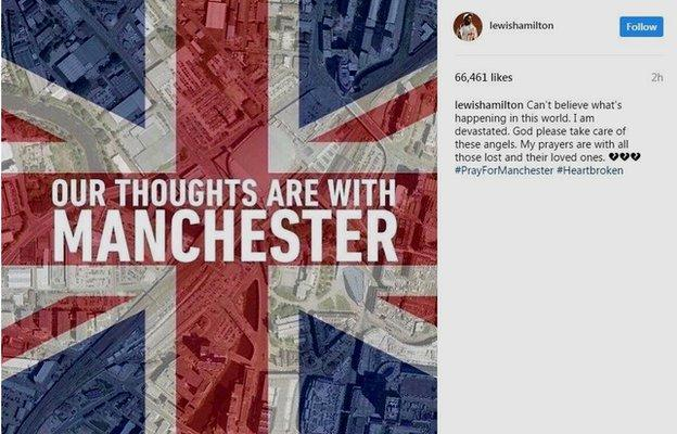Britain's three-time Formula 1 world champion Lewis Hamilton posted a message on Instagram
