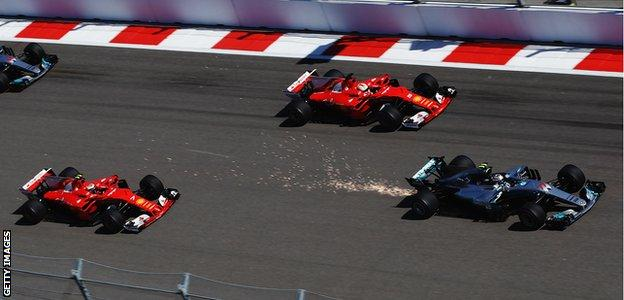 Formula One in action during the Russian Grand Prix