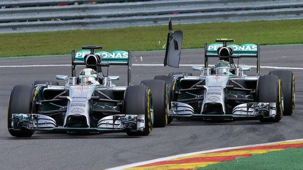 Nico Rosberg collides with Lewis Hamilton at the 2014 Belgian GP