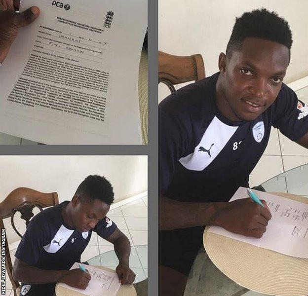 Fidel Edwards shares pictures of his new Hampshire contract