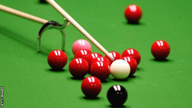 Snooker balls and swan neck rest