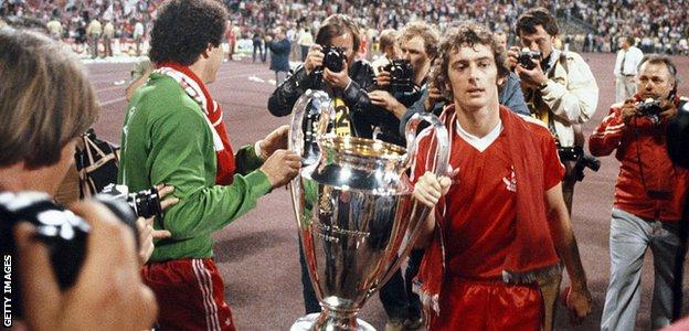 Trevor Francis and Peter Shilton celebrate winning the European Cup with Nottingham Forest in 1979