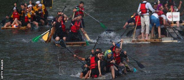 The teams took part in a raft race on Saturday