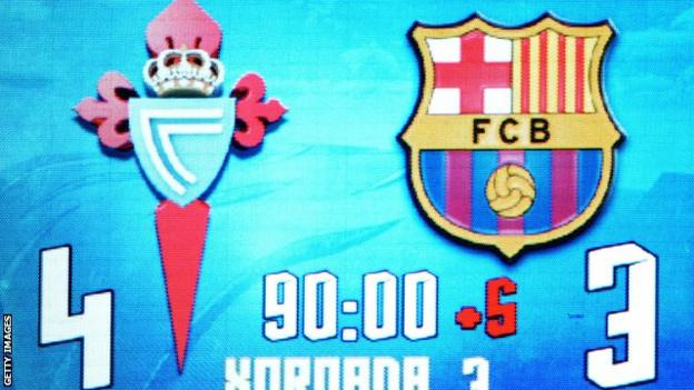 Celta Vigo beat Spanish champions Barcelona 4-3 back in October
