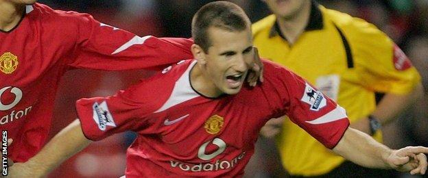 Liam Miller celebrates scoring for Manchester United in a Carling Cup game against Barnet in 2005