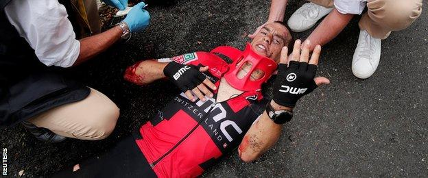Richie Porte receives treatment