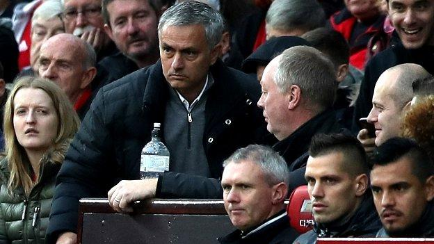 Jose Mourinho: Man Utd manager sent to the stands in Burnley match