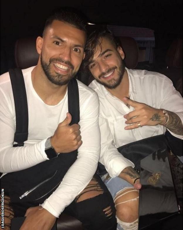 Sergio Aguero and Maluma