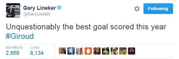 Gary Lineker made Giroud's goal the best of around 16 hours of 2017 so far
