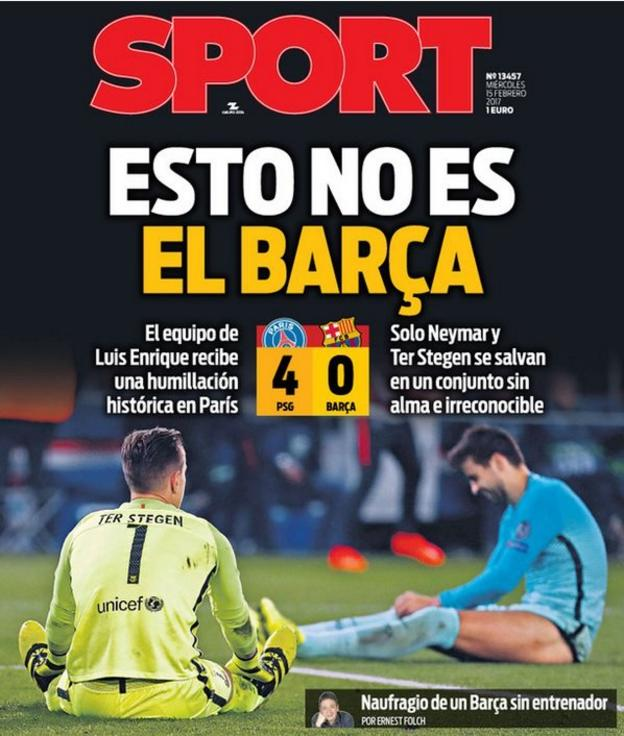 Front page of Sport newspaper