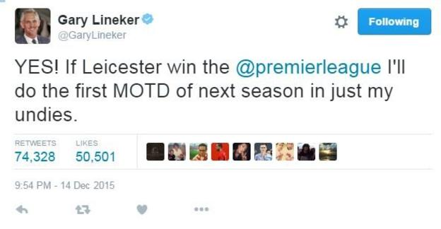 Gary Lineker tweets 'YES! If Leicester win the Premier League I'll do the first Match of the Day of the next season in just my undies.