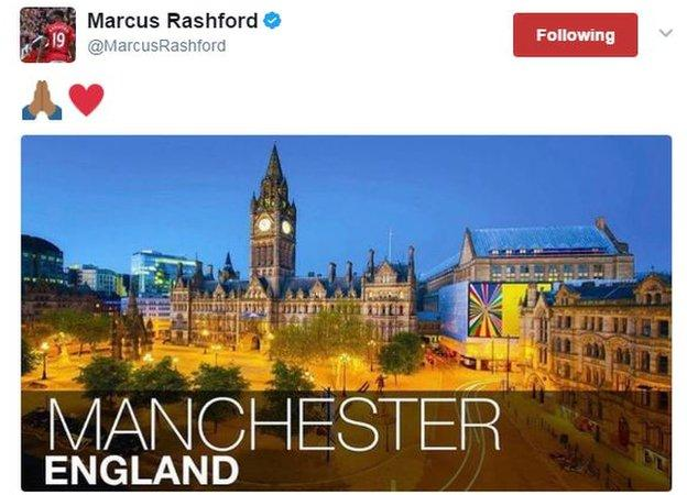 Manchester United and England striker Marcus Rashford, 19, who is from Wythenshawe in the city