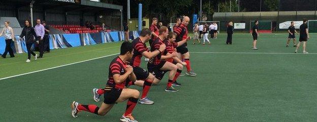 The Swansea Vikings doing some last minute stretching...