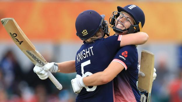 England women post record World Cup total before rain