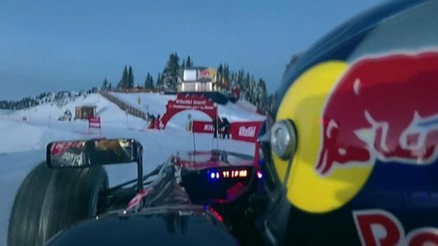 Max Verstappen drives Red Bull car on Kitzbuhel ski slopes - BBC ...
