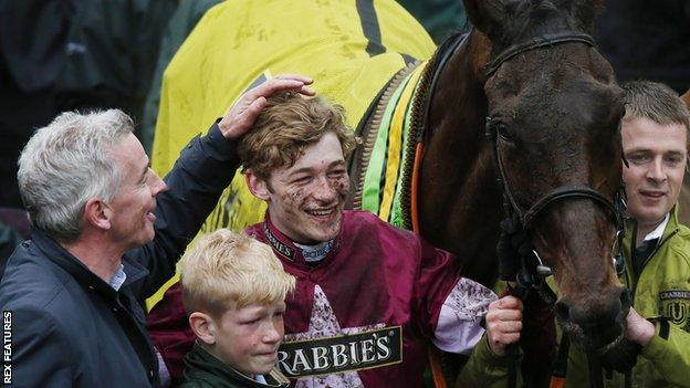 Ryanair boss Michael O'Leary with winning jockey David Mullins and Rule The World