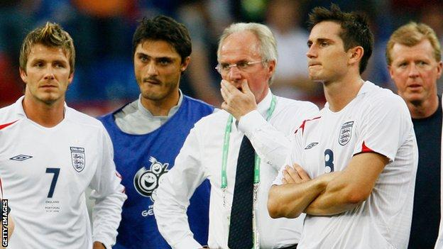 Frank Lampard (right) with David Beckham (left), Sven-Goran Eriksson (centre) and Steve McClaren (right) after England lose on penalties to Portugal at the 2006 World Cup