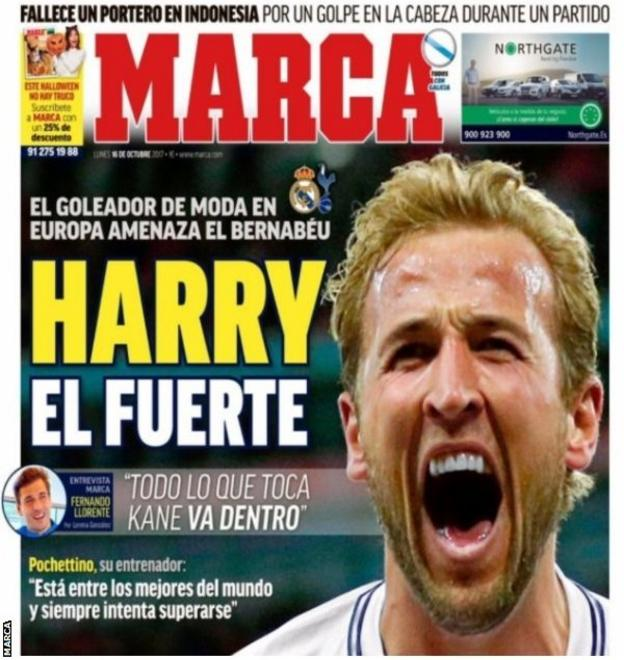 Harry Kane on the front cover of Marca