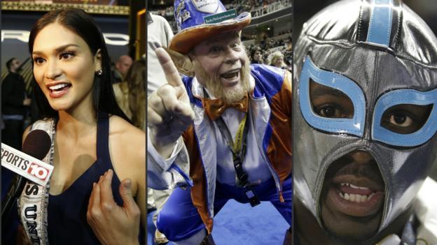 Super Bowl 50: Miss Universe, a leprechaun and a wrestling mask ...