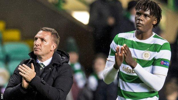 Celtic manager Brendan Rodgers and defender Dedryck Boyata