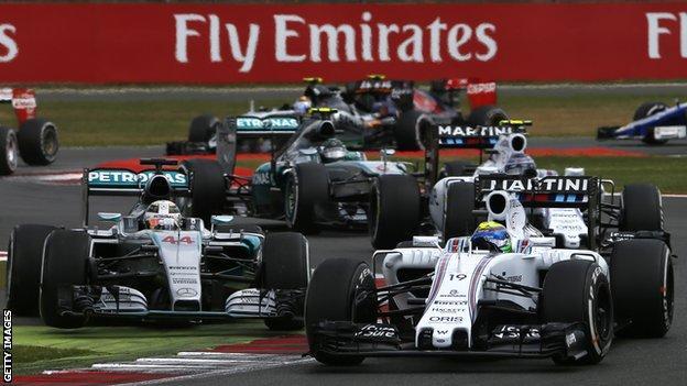 Felipe Massa leads Lewis Hamilton, Williams team-mate Valtteri Bottas and Nico Rosberg at the 2015 British GP at Silverstone