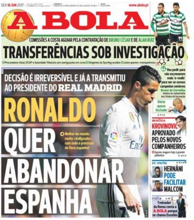 A Bola newspaper