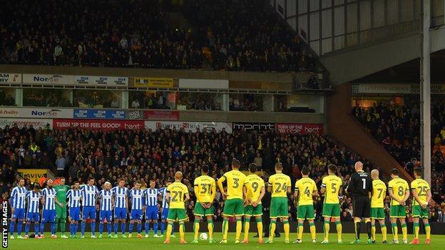 Norwich and Brighton honour Ugo Ehiogu at Carrow Road