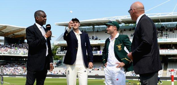 Joe Root at the toss in his first Test as England captain