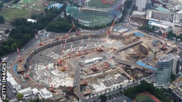 Aerial view of Japan's National Stadium under construction for the upcoming Tokyo 2020 Olympic Games