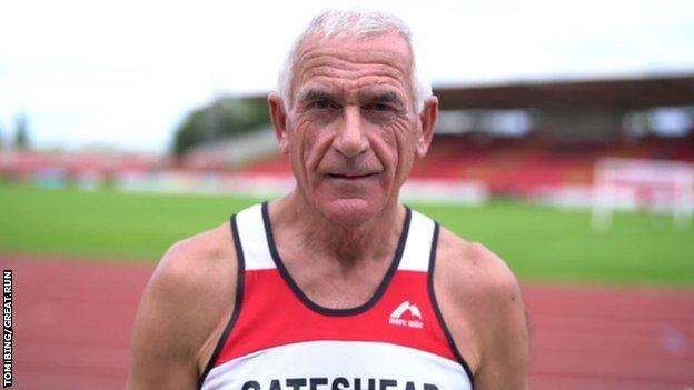 Dave Leng (pictured at Gateshead Stadium) volunteers and chaperones at every Great North Run