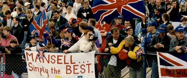 Fans Of Nigel Mansell Celebrate His Victory In The 1992 British Grand Prix At Silverstone