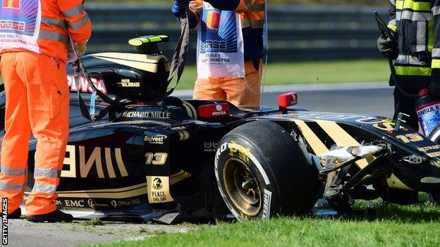Pastor Maldonado has had a few crashes in his time - this one was in practice at Spa in 2015