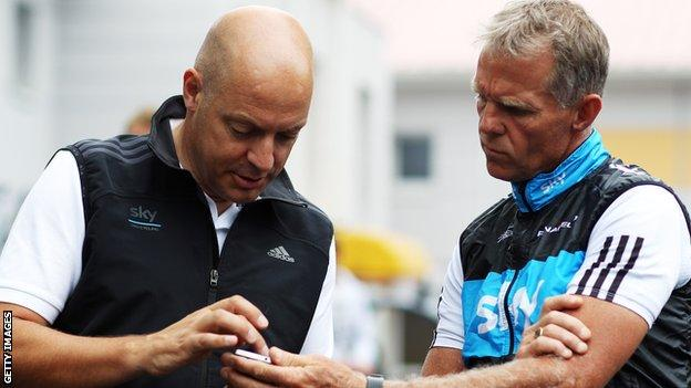 Team SKY Principal Dave Brailsford (l) and Director Sportif Shane Sutton prepare a training ride on the second rest day of the 2010 Tour de France