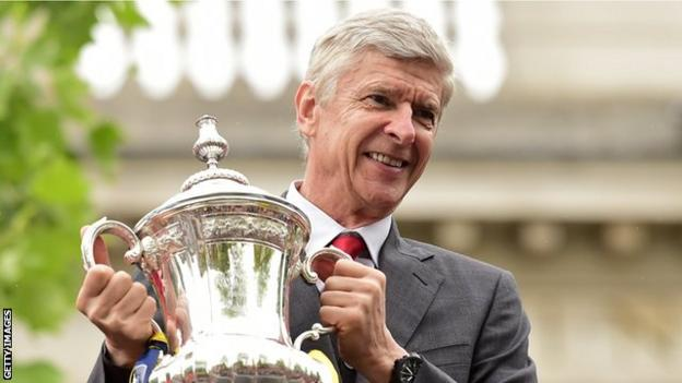 Arsenal manager Arsene Wenger with the FA Cup