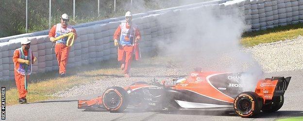 Fernando Alonso's McLaren breaks down