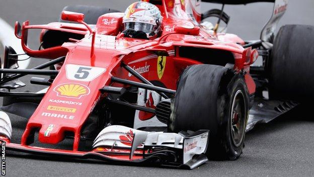Sebastian Vettel puncture