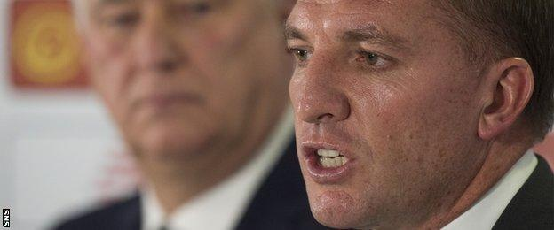 Celtic chief executive Peter Lawwell (left) and manager Brendan Rodgers