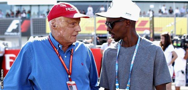 Niki Lauda and Mo Farah