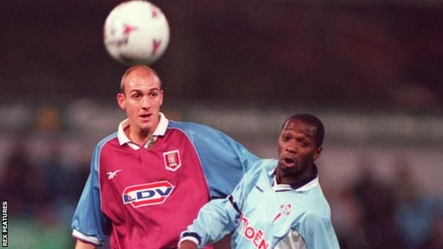 Claude Makelele in action against Aston Villa for Celta Vigo in the Uefa Cup in 1998