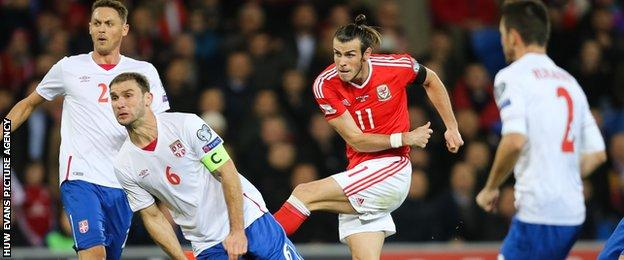 Gareth Bale in action against Serbia