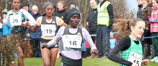 Fionnuala McCormack (right) was fourth in a race won by Kenya's Caroline Kipkirui (second from right)