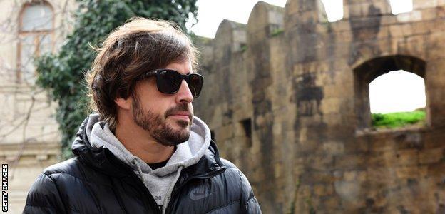 Fernando Alonso in Baku in March
