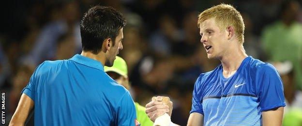 Novak Djokovic and Kyle Edmund