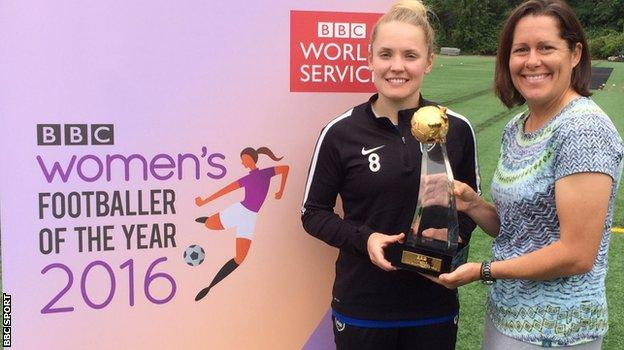 Kim Little is presented with her trophy by former USA player Shannon MacMillan