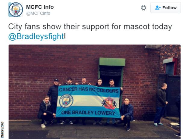 Manchester City fans took a banner with their own message of support to Goodison Park