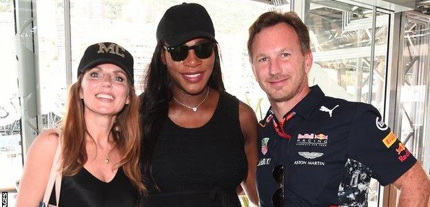 Serena Williams with Christian and Geri Horner