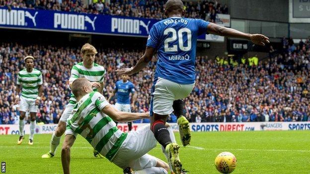 Rangers striker Alfredo Morelos and Celtic defender Jozo Simunovic