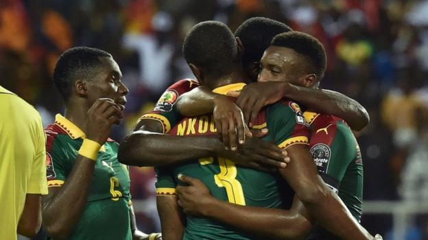 Cameroon players celebrate Nicolas Nkoulou's goal